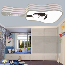 New Creative Guitar LED Iron Acrylic Ceiling Light Modern Fashion Cartoon Light for Kids Room Bedroom Princess Room Lamp AC220V
