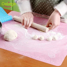Delidge 1PC Food-grade Silicone Rolling Cut Mat Fondant Clay Pastry Icing Dough Silicone Mat For Baking Cake Tools