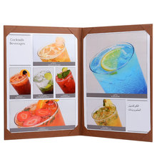 30pcs/lot Restaurant Menu Covers A4 Menu Book Wedding Menu Brown Color Wine List Folders Support Customized