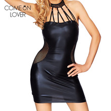 Comeonlover Club party bodycon black dress hollow out mini halter dresses faux leather plus size robe grande taille sexy RL80454(China)