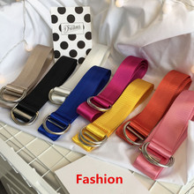 Buy Fashion Womens Designer Belts Korean Harajuku Style Solid Candy Color Canvas Double Buckle Ring Belt Women 2018 Ceinture Femme for $7.03 in AliExpress store