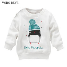 VORO BEVE Hot 2017 New Baby Kid Shirt Top Baby Girl Penguin Print Long Sleeve Pullover Cotton Clothing