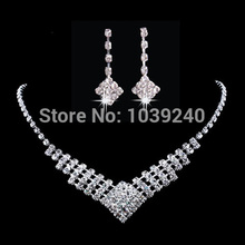 Silver Wedding Bridal Formal Jewellery Crystal Rhinestone Necklace Earring Set