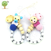 NEW Wooden Bear beads bow tie personalized pacifier for baby natural crochet wood beads baby boy baby girl birth gift toy NT211