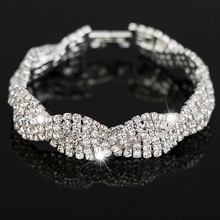 Luxury Wedding Austrian Crystal Bracelets For Women Charm Friendship Hand Chain Bracelets Bangles Jewelry Pulseira Feminina 2017(China)