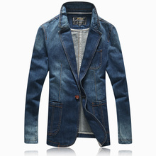 Spring Autumn Casual Men's One Button Slim Suit Collar Denim Blue Blazer , Male Coat , Fall Fitted Jeans Blazers Coats For Man