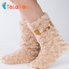 ToLaiToe Best Quality Knitting Warm Home Shoes Floor Soft Sole Long Boots Super Nubuck Knitted Indoor House Shoes 3D Long Socks(China)