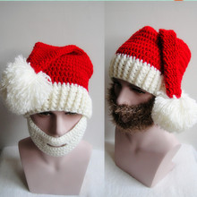 2016 New Fashion Funny Handmade Winter Mens Christmas Santa Claus Knit Hats With Moustache Masks For Christmas Party Gifts(China)