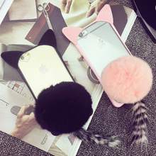 For Apple iPhone 5 5s SE 6 6s Plus 7 7Plus Black Pink Cute Cat Tail Design Phone Shell Hair Ball Cellphone Bags New Fashion