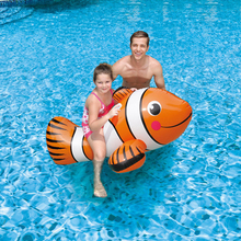 Large Inflatable Clown Fish With Handle Inflatable Tropical Fish Ride For Kids Floating Chair Swimming Ring Child Water Toy