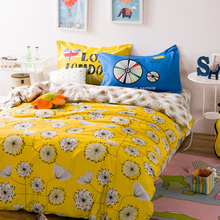 Fresh Flower printing yellow Bedding sets single/twin/queen/double size pure Cotton bed sheet pillowcase Duvet cover 4pcs set(China)