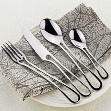 4Pcs Exquisite Western Silver Dinner Tableware Set Kit Stainless Steel Cutlery Kitchen Dinnerware Hollow TeaSpoon Fork Knife