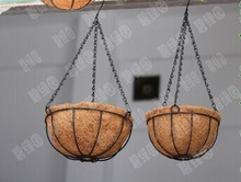 052841 2 pieces/lot The suspension, wrought iron coconut hanging POTS balcony hanging basket Circular hanging basket hanging(China)