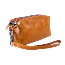 Female travel toiletry bag brands genuine leather cosmetic bag womens makeup travel purse women bag phone storage organizer bag(China)