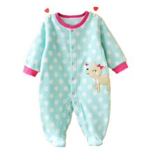 Unisex Baby Rompers Cartoon Animal Clothing Set Winter Girls Warm Fleece Clothes Boys Foot Overalls Newborn Infant Jumpsuit(China)