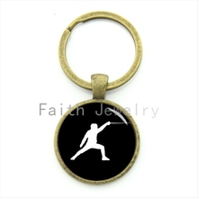 2016 leisure jewelry elegant fencing keychain charming fencing movement art silhouette key chain sports events team gift KC380