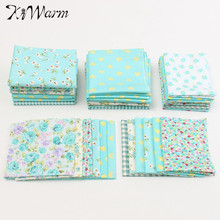 6Pcs/set Cyan Floral Cotton Fabric Cloth Quilt Household Table Sewing Patchwork Needlework Doll Handmade DIY Craft Material(China)