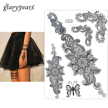 1PC Fashion Flash Waterproof Tattoo Women Black Henna Jewel Lace BJ014 Sexy Secret Arm Body Art Flower Temporary Tattoo Sticker(China)
