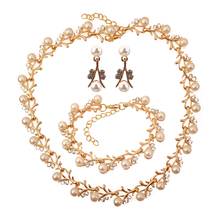 Wedding Accessories Simulated Pearl Necklace Bracelet Earrings Set Indian Bridal Jewelry Sets Buy Cheap Goods Jewellery Sets(China)