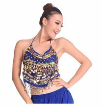 2016 Hot selling on Sale Cheap Coins Sexy Belly Dance Top Size Bra for Women 11 Colors Available(China)