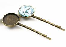 20mm 10pcs High Quality Bronze Plated Copper Material Hairpin Hair Clips Hairpin Base Setting Cabochon Cameo  J5-11