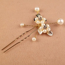1PCS Fashion New Wedding Bridal Bridesmaid White Rose Pearls Hair Pins Clips Comb Headband(China)