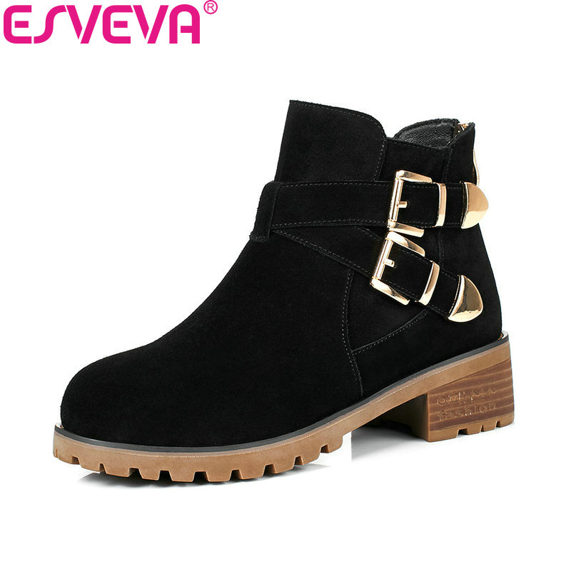 ESVEVA 2018 Slim Look Women Boots Cow Suede Square Med Heel Ankle Boots Inside PU/synthetic Round Toe Ladies Boots Size 34-40<br>