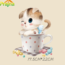 Prajna Cartoon Cat Patch Heat Press Iron On Transfers For T-shirt Clothes Fabric Vinyl Printing Transfer Paper Sticker Applique