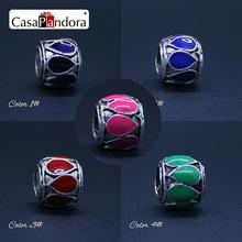 CasaPandora 5 Colors  925 Plated Color Drops Shape Fit Bracelet Charm DIY Enamel Bead Jewelry Making Pingente Berloque