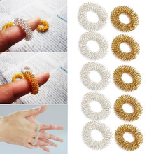 Finger Massage Sujok Ring Acupuncture Ring Health Care Body Massage Chinese Medicine color gold and silver Free shippment(China)