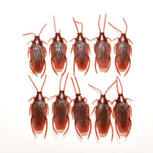 10Pcs Prank Funny Trick Joke Toys Special Lifelike Model Simulation Fake Rubber Cockroach Cock Roach Bug Roaches Toys(China)