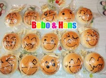 New Cute face bread (L) squishy charm / mobile phone strap / Wholesale(China)