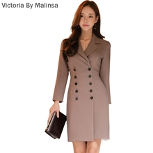 2017 Winter Blazer Dress Women Cloth Office Work Brief Outer Vestidos Notched Double Breasted Full Sleeve Mini Slim Dresses(China)