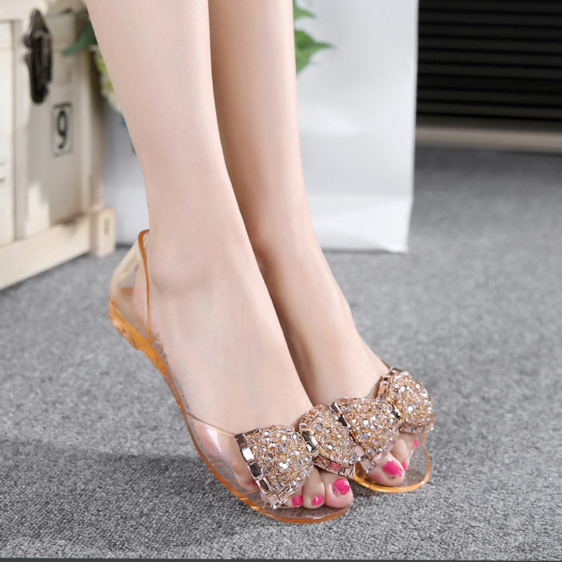 Women Sandals Summer Style Bling Bowtie Fashion Peep Toe Jelly Shoes Sandal Flat Shoes Woman Beach Casual Sandals Size 36-40 <br><br>Aliexpress