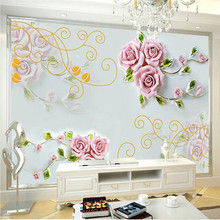 Custom-carved roses 3D stereoscopic television background 3D wallpaper 3D wallpaper living room sofa bedroom mural