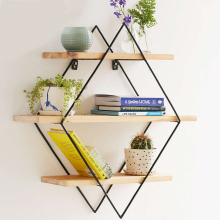 Modern Minimalist Design Wall Mount Shelf Bookshelf Flower pot Display Rack Ledge Storage Holders Racks Wall Shelf Metal Wooden