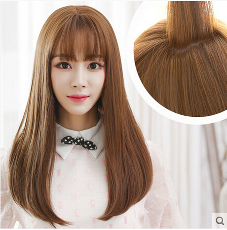 WIGS Korean air bang pear flower head of long hair big scalp long straight WIG<br><br>Aliexpress