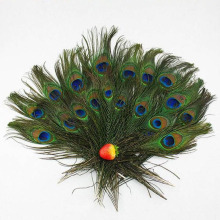 40pcs/set Beautiful Natural Peacock Tail Feather Eyes 8-12'' Long Bouquet Millinery