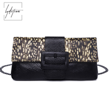 Lydztion Horse Fur Woman Handbag 2018 Winter New Leopard Genuine Leather Chain totes Fashion Envelope day Clutch Messenger Bag(China)