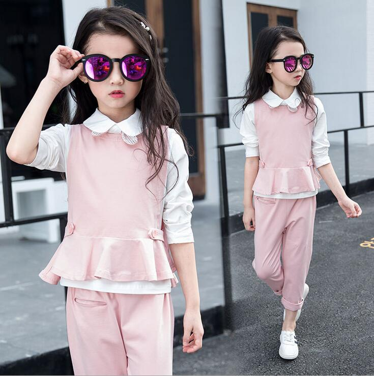 Fashion Girls Tracksuit Butterfly Vest Suit lThree-piece Baby Christmas Outfits Ropa De Nina Solid Color Children Clothing Sets <br><br>Aliexpress