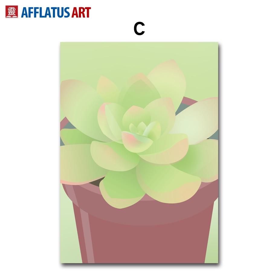 AFFLATUS Nordic Canvas Painting Cactus Canvas Poster Decorative ...
