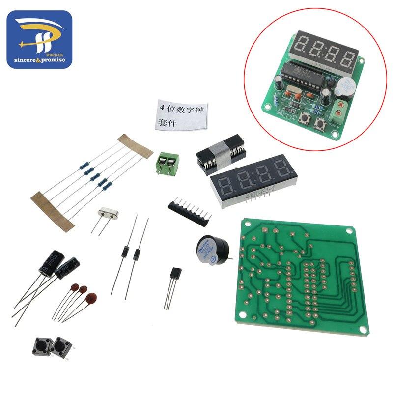 AT89C2051 Digital C51 4 Bits Electronic Clock Electronic Production Suite DIY Kits