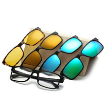 Include Frame Polarized Clip On Sunglasses Men TR90 Custom Prescription Glasses Frame Magnetic Clips Night Glasses Drive Magnet(China)