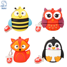 KRY Cute Bee Penguin Animal Cartoon Owl USB Flash Drive 2.0 4GB 8GB 16GB 32GB 64GB U Disk Drive Computer Disk Free Shipping