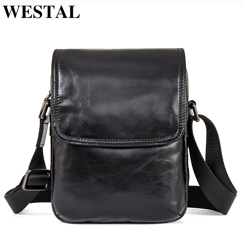 WESTAL Cowhide Genuine Leather Men Bag Small Ipad Flap Crossbody Bags Black Mini Shoulder Bags Casual Messenger Bag Men Leather <br>