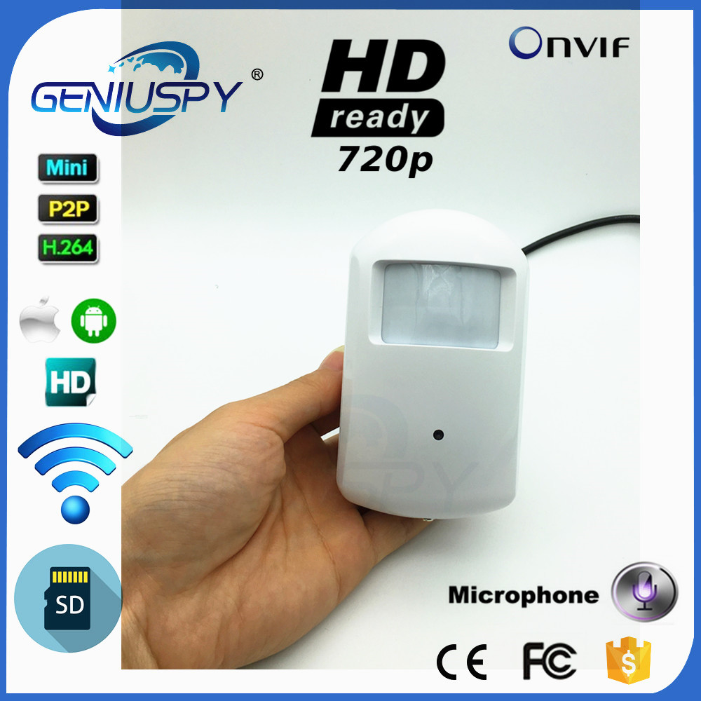 GENIUSPY CCTV Surveillance P2P Onvif 720P 1.0MP IP Pin hole WIFI Camera HD PIR STYLE Motion Detector IP Camera Sd Card Audio<br>