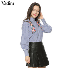 Vadim women floral embroidery striped shirts buttons long sleeve turtleneck blouses ladies office wear casual brand tops blusas(China)