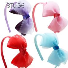 BTLIGE Handmade Satin Alice Band Headband With Boutique Bow Hair Band Korean Candy Colors Hair Accessories(China)