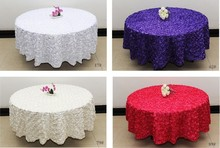White 2.6 m Wedding Round Table Cloth Overlays 3D Rose Flower Tablecloths Wedding Decoration Supplier 7 Colors Free Shipping(China)