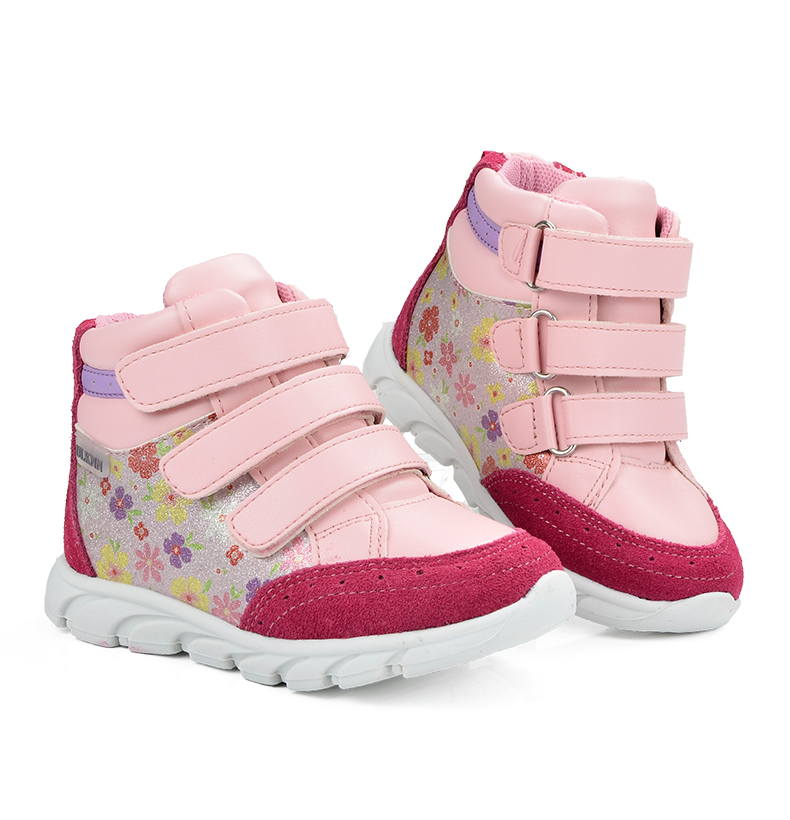 ULKNN Girls Sneakers Kids Shoes Girls Running Shoes Floral Print Breathable Genuine Leather Soft sapatos infantil Pink Size 20-25 (2)